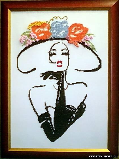 Вышивка Дама в шляпе с цветами