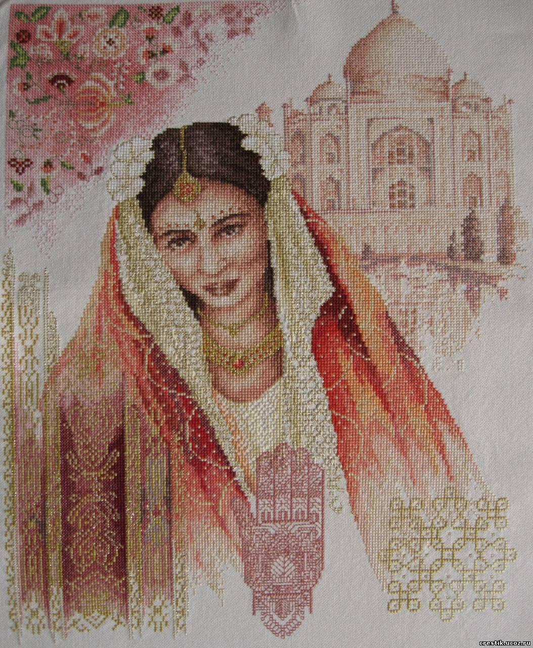 Вышивка Индианка на фоне Тадж-Махала