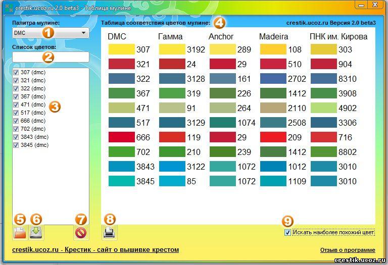 таблица цветов мулине
