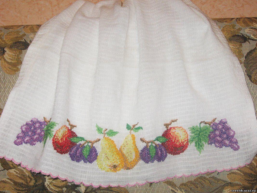ткань (я использовала хлопчатобумажное вафельное полотенце) - канва - нитки - схема для вышивки.