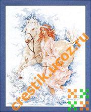 Девушка с лошадью - схема вышивки