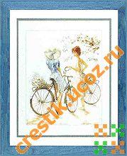 Девушки на велосипедах - схема вышивки