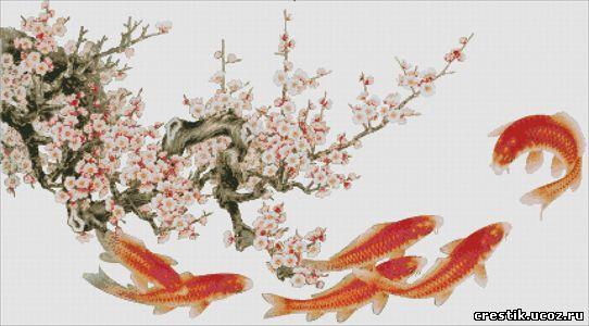 Золотые рыбки - схема вышивки