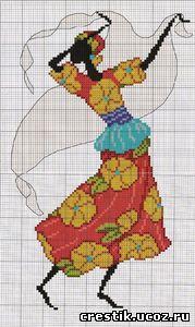 Африканочка в танце - схема вышивки