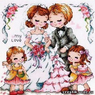 Можно использовать для вышивки как простой свадебной открытки, так и... Схемы свадебных сэмплеров. http...