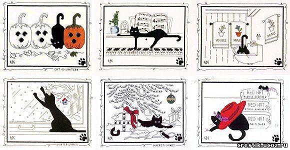 """Серия  """"Чёрная кошка """" - схемы вышивки."""