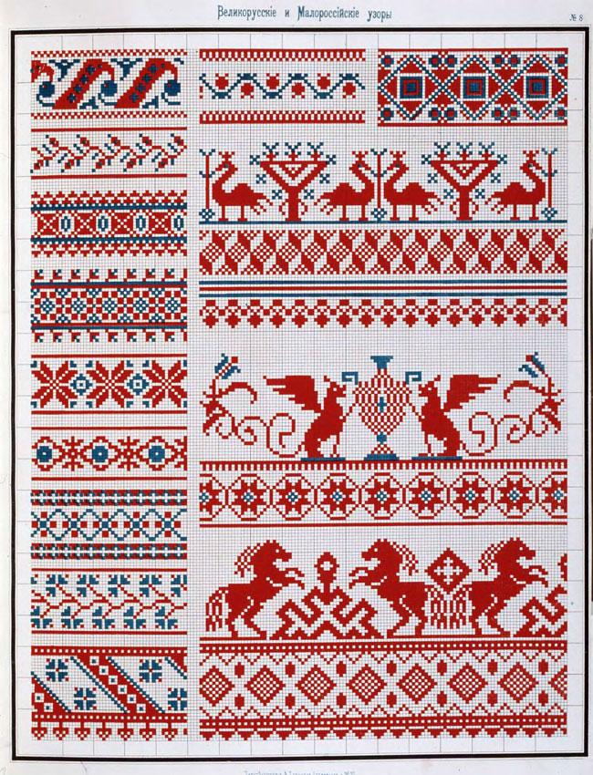 Русские мотивы вышивке крестом